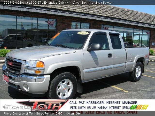 silver birch metallic 2005 gmc sierra 1500 z71 extended cab 4x4 pewter interior gtcarlot. Black Bedroom Furniture Sets. Home Design Ideas
