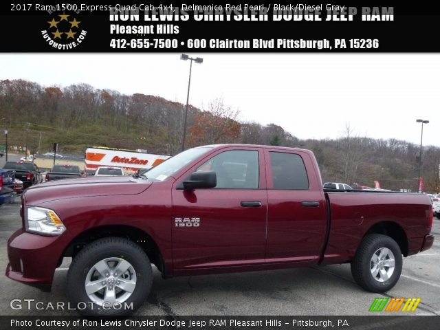 delmonico red pearl 2017 ram 1500 express quad cab 4x4 black diesel gray interior gtcarlot. Black Bedroom Furniture Sets. Home Design Ideas