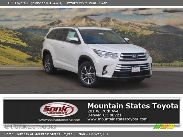 blizzard white pearl 2017 toyota highlander xle awd ash interior vehicle. Black Bedroom Furniture Sets. Home Design Ideas