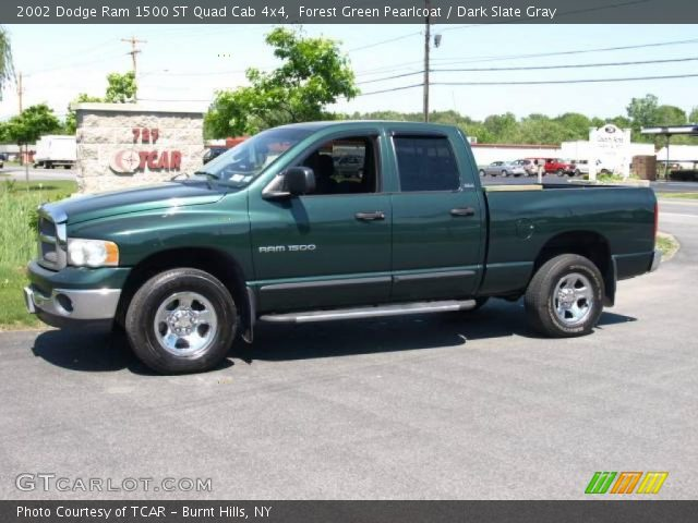 forest green pearlcoat 2002 dodge ram 1500 st quad cab 4x4 dark slate gray interior. Black Bedroom Furniture Sets. Home Design Ideas