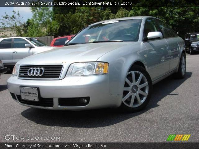 light silver metallic 2004 audi a6 2 7t s line quattro sedan ebony interior. Black Bedroom Furniture Sets. Home Design Ideas