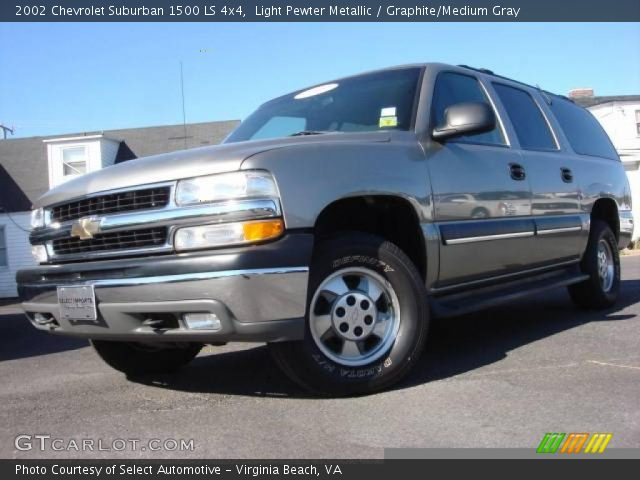 light pewter metallic 2002 chevrolet suburban 1500 ls 4x4 graphite medium gray interior. Black Bedroom Furniture Sets. Home Design Ideas