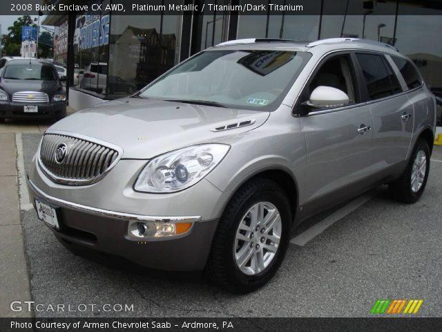 Platinum Metallic 2008 Buick Enclave Cx Awd Titanium Dark Titanium Interior