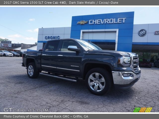 dark slate metallic 2017 gmc sierra 1500 slt crew cab 4wd cocoa dune interior gtcarlot. Black Bedroom Furniture Sets. Home Design Ideas