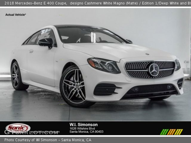 2018 Mercedes-Benz E 400 Coupe in designo Cashmere White Magno (Matte)