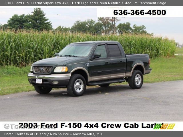 2003 Ford F150 Lariat SuperCrew 4x4 in Dark Highland Green Metallic