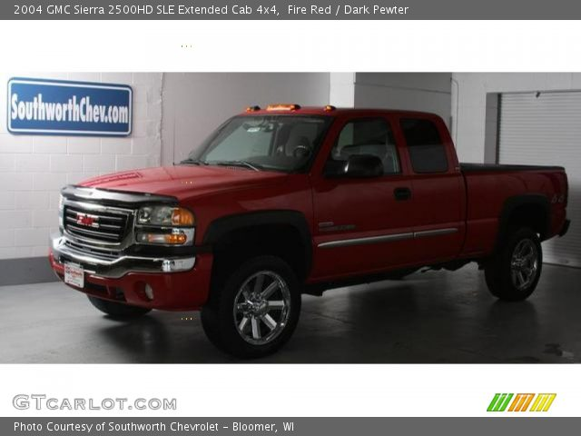 fire red 2004 gmc sierra 2500hd sle extended cab 4x4 dark pewter interior. Black Bedroom Furniture Sets. Home Design Ideas