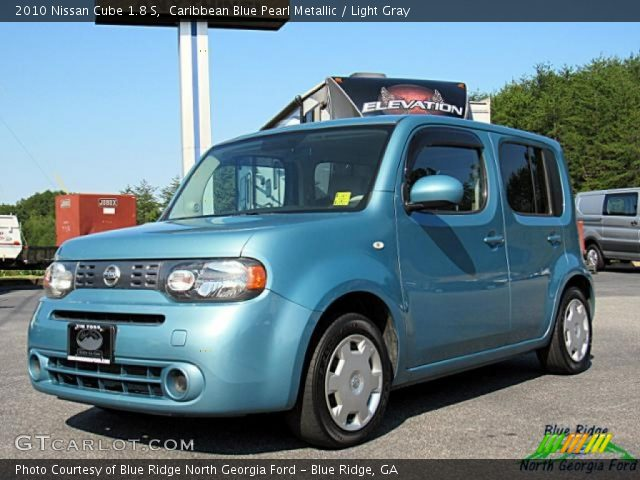 Caribbean Blue Pearl Metallic 2010 Nissan Cube 18 S Light Gray