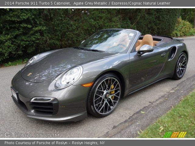 Agate Grey Metallic 2014 Porsche 911 Turbo S Cabriolet Espresso