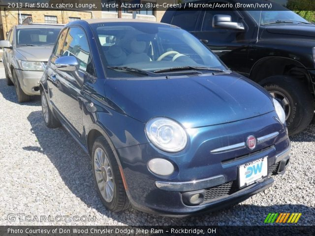 2013 Fiat 500 c cabrio Lounge in Verde Azzurro (Blue-Green)