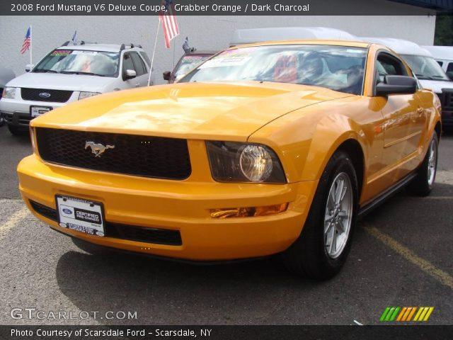 grabber orange 2008 ford mustang v6 deluxe coupe dark. Black Bedroom Furniture Sets. Home Design Ideas