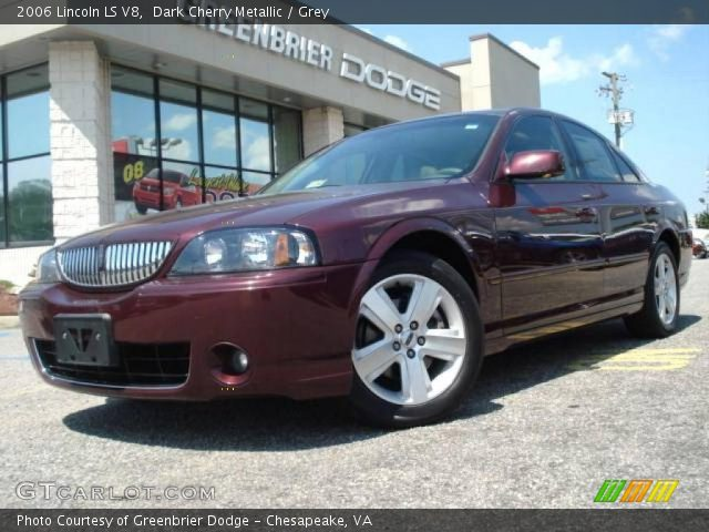 dark cherry metallic 2006 lincoln ls v8 grey interior vehicle archive 12340666. Black Bedroom Furniture Sets. Home Design Ideas
