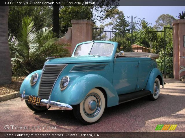 Turquoise 1937 ford v8 4 door convertible brown for 1937 ford sedan 4 door