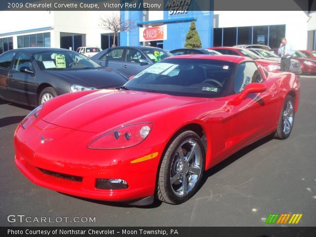 victory red 2009 chevrolet corvette coupe ebony. Black Bedroom Furniture Sets. Home Design Ideas