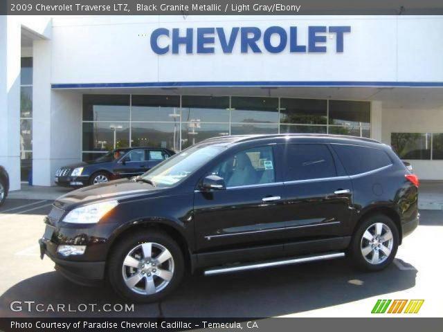 Black Granite Metallic 2009 Chevrolet Traverse Ltz Light Gray Ebony Interior