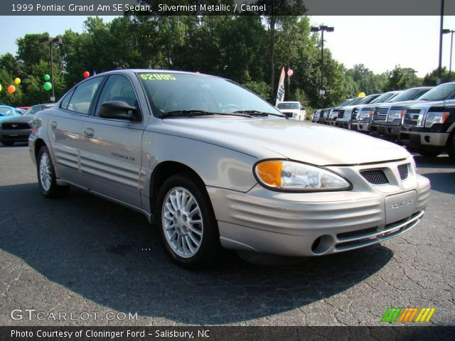 silvermist metallic 1999 pontiac grand am se sedan camel interior vehicle. Black Bedroom Furniture Sets. Home Design Ideas