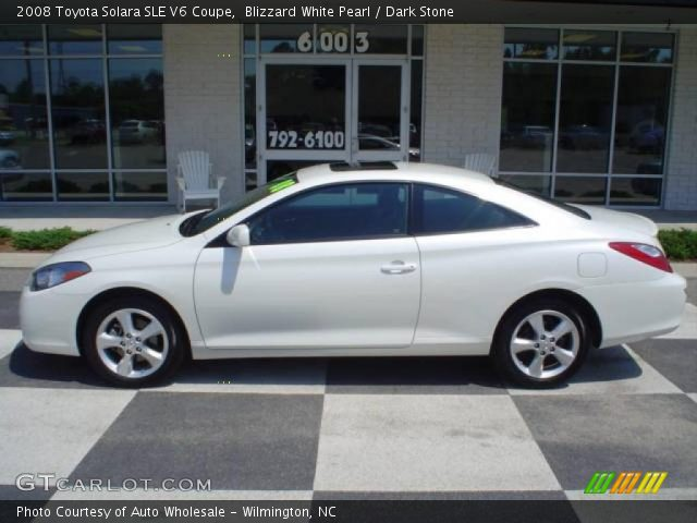 blizzard white pearl 2008 toyota solara sle v6 coupe dark stone interior. Black Bedroom Furniture Sets. Home Design Ideas