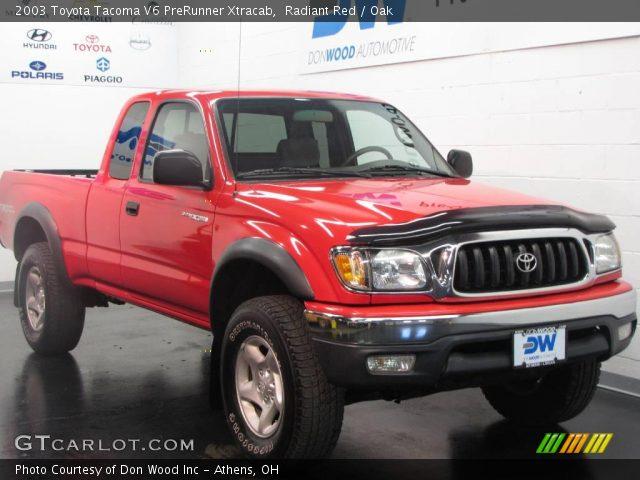 radiant red 2003 toyota tacoma v6 prerunner xtracab oak interior vehicle. Black Bedroom Furniture Sets. Home Design Ideas