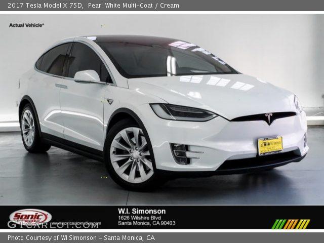 2017 Tesla Model X 75D in Pearl White Multi-Coat
