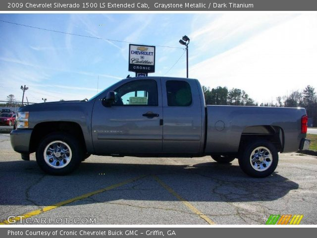 graystone metallic 2009 chevrolet silverado 1500 ls extended cab dark titanium interior. Black Bedroom Furniture Sets. Home Design Ideas