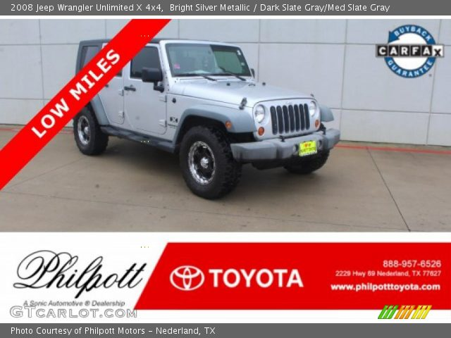 2008 Jeep Wrangler Unlimited X 4x4 in Bright Silver Metallic