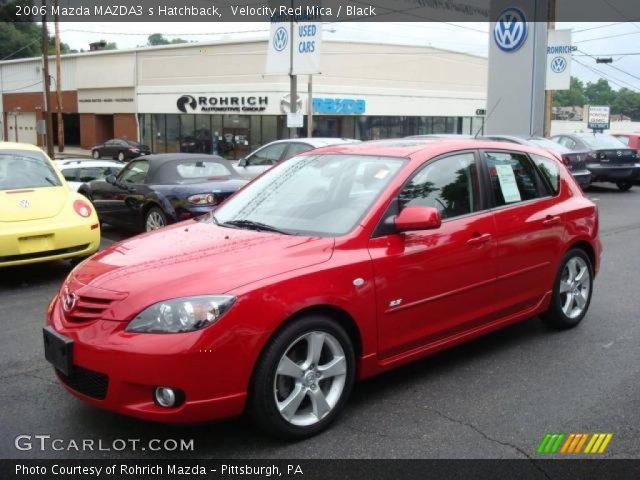 velocity red mica 2006 mazda mazda3 s hatchback black interior vehicle. Black Bedroom Furniture Sets. Home Design Ideas