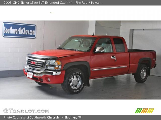 fire red 2003 gmc sierra 1500 slt extended cab 4x4 pewter interior vehicle. Black Bedroom Furniture Sets. Home Design Ideas