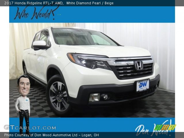 2017 Honda Ridgeline RTL-T AWD in White Diamond Pearl