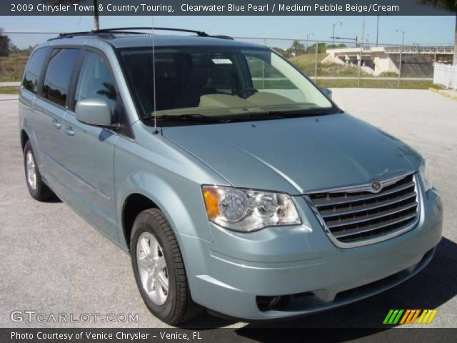 clearwater blue pearl 2009 chrysler town country touring medium pebble beige cream. Black Bedroom Furniture Sets. Home Design Ideas