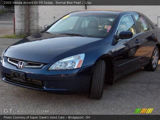 eternal blue pearl 2003 honda accord ex v6 sedan gray interior vehicle. Black Bedroom Furniture Sets. Home Design Ideas