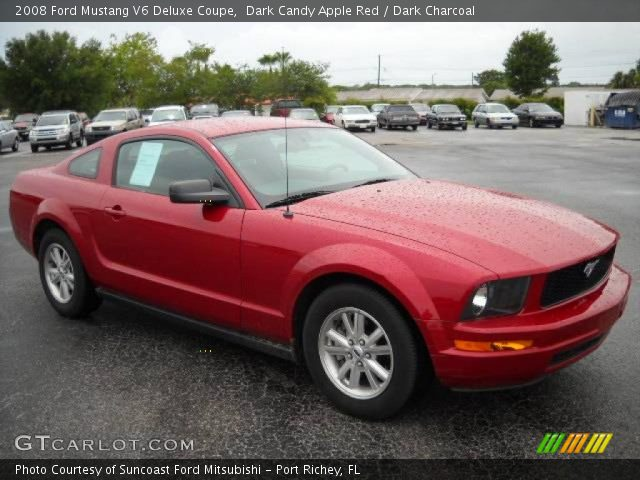 dark candy apple red 2008 ford mustang v6 deluxe coupe. Black Bedroom Furniture Sets. Home Design Ideas