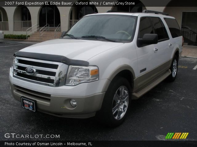oxford white 2007 ford expedition el eddie bauer camel grey stone interior. Black Bedroom Furniture Sets. Home Design Ideas