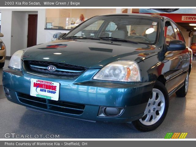willow green 2003 kia rio sedan beige interior. Black Bedroom Furniture Sets. Home Design Ideas