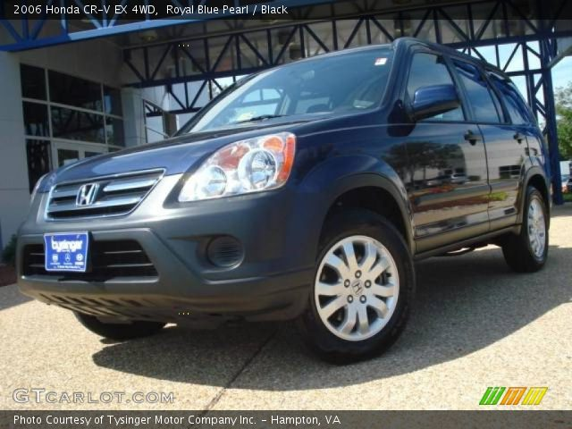 royal blue pearl 2006 honda cr v ex 4wd black interior vehicle archive. Black Bedroom Furniture Sets. Home Design Ideas