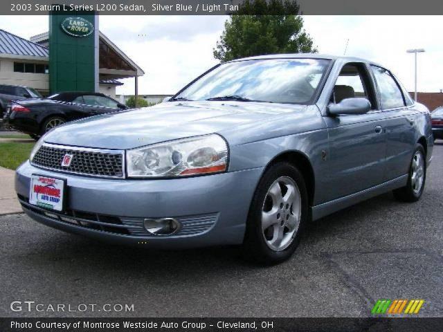 silver blue 2003 saturn l series l200 sedan light tan interior vehicle. Black Bedroom Furniture Sets. Home Design Ideas