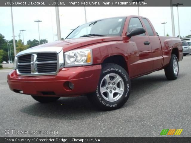 inferno red crystal pearl 2006 dodge dakota slt club cab medium slate gray interior. Black Bedroom Furniture Sets. Home Design Ideas