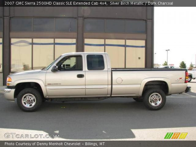 silver birch metallic 2007 gmc sierra 2500hd classic sle extended cab 4x4 dark charcoal. Black Bedroom Furniture Sets. Home Design Ideas