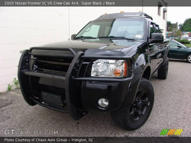 super black 2003 nissan frontier sc v6 crew cab 4x4 black interior vehicle. Black Bedroom Furniture Sets. Home Design Ideas