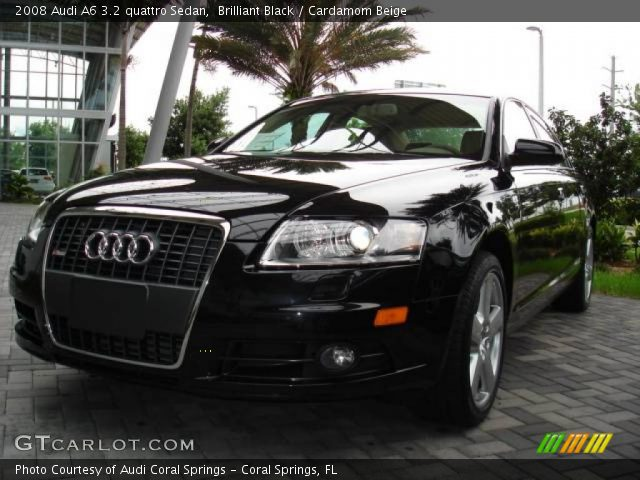 brilliant black 2008 audi a6 3 2 quattro sedan cardamom beige interior. Black Bedroom Furniture Sets. Home Design Ideas