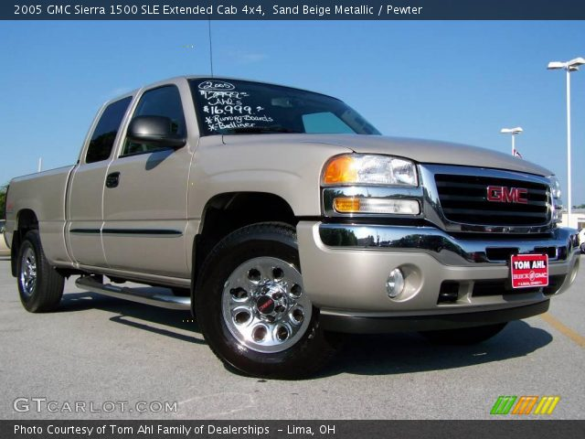 sand beige metallic 2005 gmc sierra 1500 sle extended cab 4x4 pewter interior. Black Bedroom Furniture Sets. Home Design Ideas