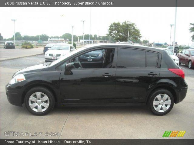 Super Black 2008 Nissan Versa 18 Sl Hatchback Charcoal Interior