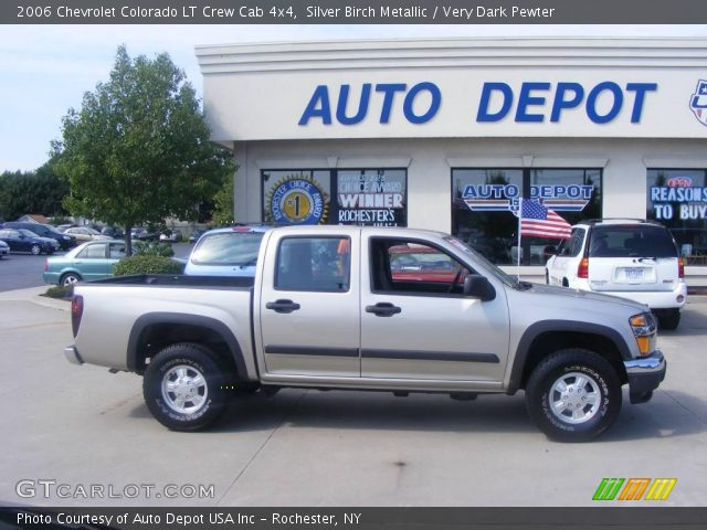 silver birch metallic 2006 chevrolet colorado lt crew cab 4x4 very dark pewter interior. Black Bedroom Furniture Sets. Home Design Ideas