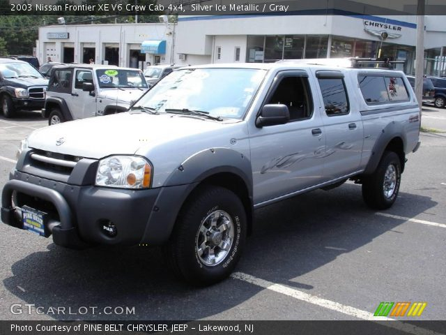 silver ice metallic 2003 nissan frontier xe v6 crew cab 4x4 gray interior. Black Bedroom Furniture Sets. Home Design Ideas