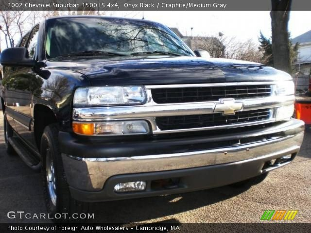 onyx black 2002 chevrolet suburban 1500 ls 4x4 graphite medium gray interior. Black Bedroom Furniture Sets. Home Design Ideas