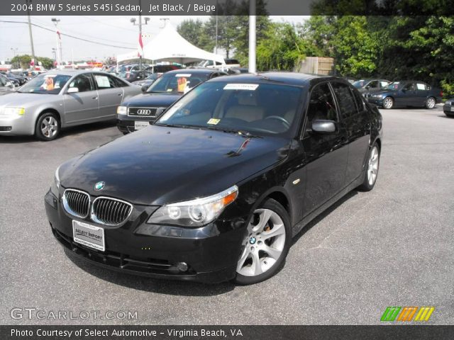 jet black 2004 bmw 5 series 545i sedan beige interior. Black Bedroom Furniture Sets. Home Design Ideas