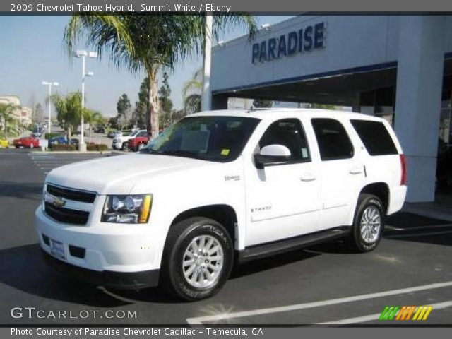 Summit White  2009 Chevrolet Tahoe Hybrid  Ebony Interior