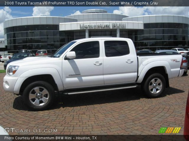 super white 2008 toyota tacoma v6 prerunner trd sport double cab graphite gray interior. Black Bedroom Furniture Sets. Home Design Ideas