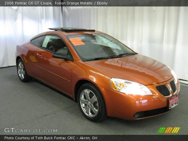 fusion orange metallic 2006 pontiac g6 gt coupe ebony interior vehicle. Black Bedroom Furniture Sets. Home Design Ideas