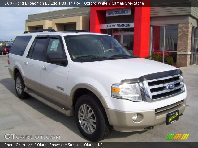 oxford white 2007 ford expedition el eddie bauer 4x4 camel grey stone interior gtcarlot. Black Bedroom Furniture Sets. Home Design Ideas
