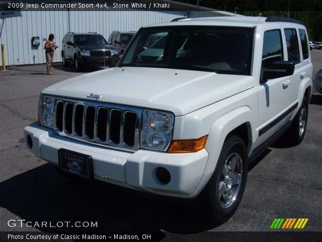stone white 2009 jeep commander sport 4x4 khaki. Black Bedroom Furniture Sets. Home Design Ideas
